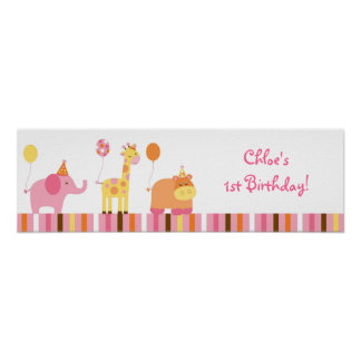 Sweet Safari Jungle Animal Birthday Banner Sign