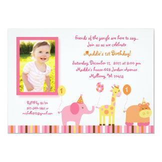 "Sweet Safari Jungle Animal Birthday Invitations 5"" X 7"" Invitation Card"