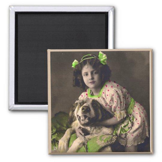 Sweet Saint Bernard Vintage Photo Magnet