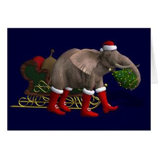 Sweet Santa Claus Elephant Card