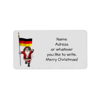 Sweet Santa Claus With Ensign Of Germany Address Label