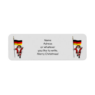 Sweet Santa Claus With Ensign Of Germany Return Address Label