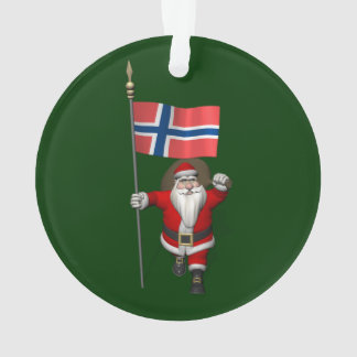 Sweet Santa Claus With Ensign Of Norway Ornament