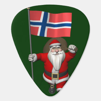 Sweet Santa Claus With Ensign Of Norway Plectrum