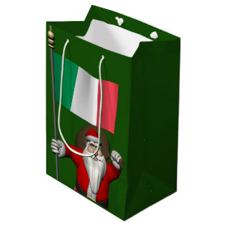 Sweet Santa Claus With Flag Of Italy Medium Gift Bag