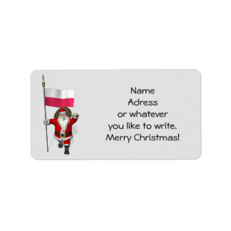 Sweet Santa Claus With Flag Of Poland Address Label