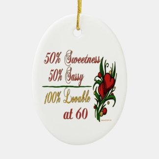 Sweet, Sassy, Lovable at 60 Ceramic Ornament
