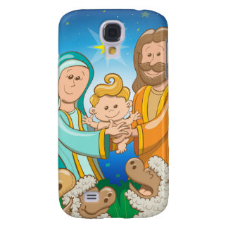 Sweet scene of the nativity of baby Jesus Galaxy S4 Cover