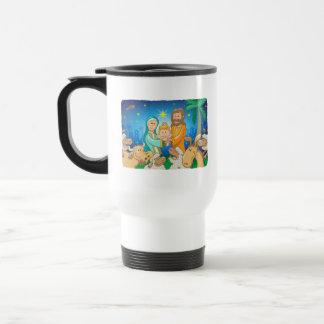 Sweet scene of the nativity of baby Jesus Travel Mug