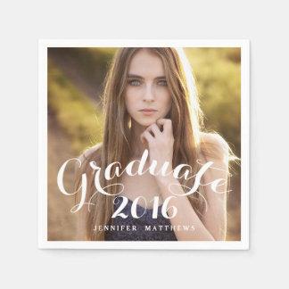 Sweet Script   2016 Graduation Photo Paper Napkins