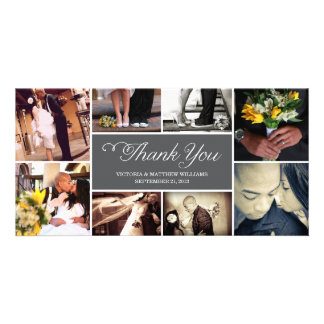SWEET SCRIPT COLLAGE | WEDDING THANK YOU CARD PHOTO CARD TEMPLATE