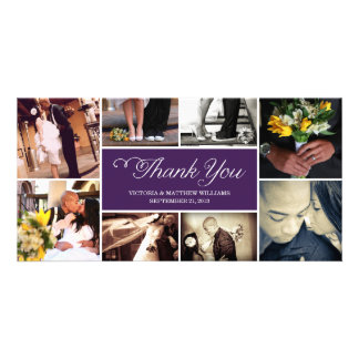 SWEET SCRIPT COLLAGE   WEDDING THANK YOU CARD PHOTO CARD TEMPLATE