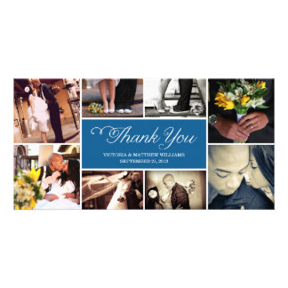 SWEET SCRIPT COLLAGE WEDDING THANK YOU CARD PERSONALIZED PHOTO CARD