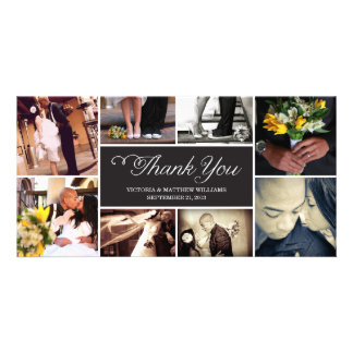 SWEET SCRIPT COLLAGE   WEDDING THANK YOU CARD PICTURE CARD