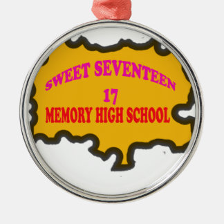 Sweet Seventeen 17in memory High Scholl Silver-Colored Round Decoration