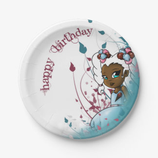 Sweet Sherbet Ebonie Birthday Paper Plates 7 Inch Paper Plate