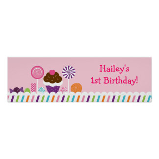 Sweet Shop Candy Birthday Banner Sign Poster