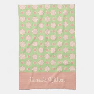 Sweet Shop Flower Dots Personalized Tea Towel