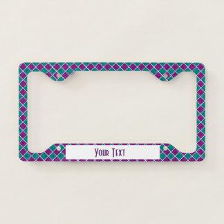 Sweet Shop Purple n Aqua Squares Licence Plate Frame