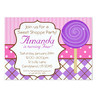Sweet Shoppe Lollipop Birthday Party Invitation