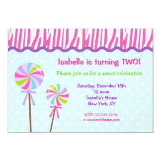 Sweet Shoppe Lollipop Birthday Party Invitations