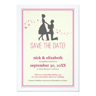 Sweet Silhouette Proposal Save the Date (pink) 13 Cm X 18 Cm Invitation Card