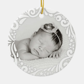 Sweet Simple White Swirl Design   custom photo Round Ceramic Decoration
