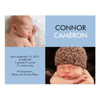 Sweet Simplicity Birth Announcement - Blue Postcard