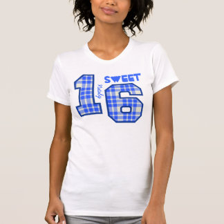 Sweet Sixteeen 16 Birthday PLAID Custom Name V94F T-Shirt