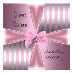 Sweet Sixteen16th Birthday Satin Pink Stripe Bow Personalised Invitation