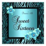 Sweet Sixteen 16 Birthday Blue Flower black Silver Invite