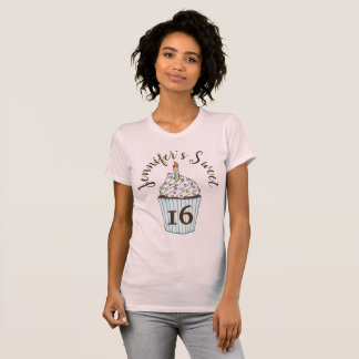 Sweet Sixteen 16 Birthday Cupcake Personalized T-Shirt
