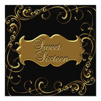 Sweet Sixteen 16 Birthday Elegant Black Gold Card