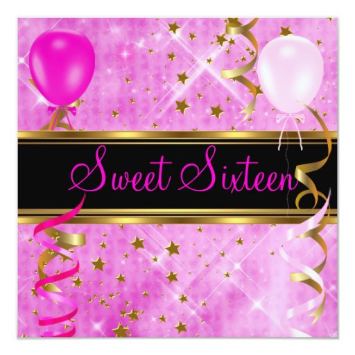 Sweet Sixteen 16 Birthday Party Pink Stars 3 13 Cm X 13 Cm Square Invitation Card