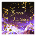 Sweet Sixteen 16 Birthday Party Purple Gold Stars Personalized Invitations