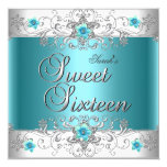 Sweet Sixteen 16 Birthday Party Teal Blue Diamond 13 Cm X 13 Cm Square Invitation Card