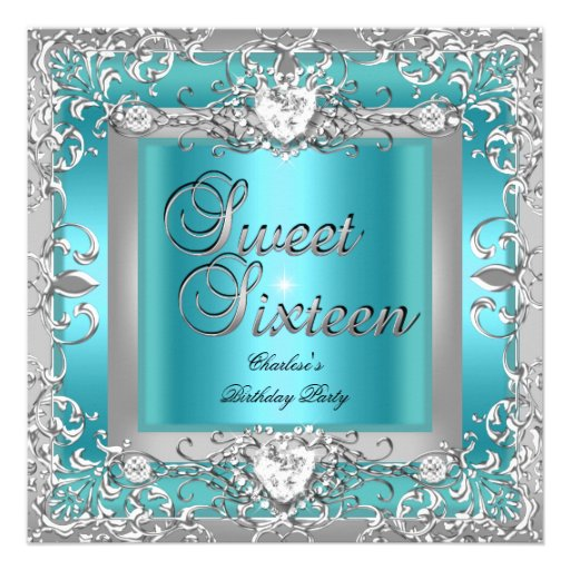 Sweet Sixteen 16 Birthday Party Teal Blue Silver Invitations