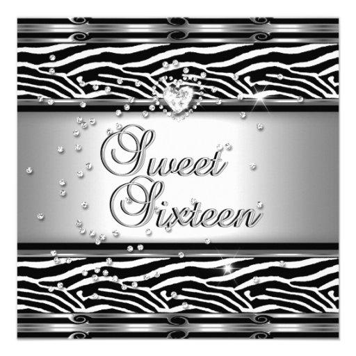 Sweet Sixteen 16 Birthday Party Zebra Black White Custom Invitations
