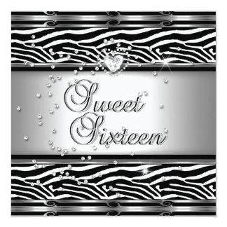 Sweet Sixteen 16 Birthday Party Zebra Black White 5.25x5.25 Square Paper Invitation Card