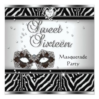 Sweet Sixteen 16 Birthday Party Zebra Masquerade 13 Cm X 13 Cm Square Invitation Card