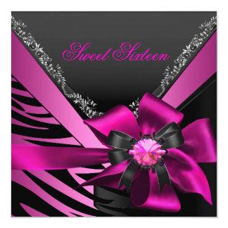 Sweet Sixteen 16 Birthday Party Zebra Pink Black 13 Cm X 13 Cm Square Invitation Card