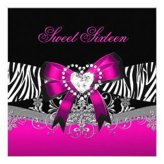 Sweet Sixteen 16 Birthday Party Zebra Pink Black Invites
