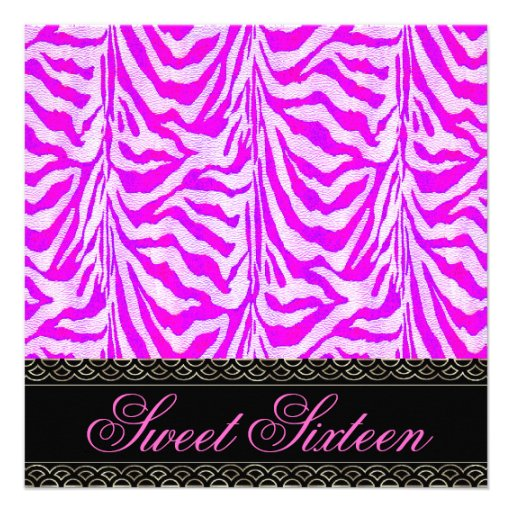 Sweet Sixteen 16 Birthday Party Zebra Pink Stripe Personalized Announcements
