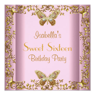 Sweet Sixteen 16 Birthday Pink Gold Butterfly 13 Cm X 13 Cm Square Invitation Card