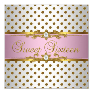 Sweet Sixteen 16 Birthday Pink White Gold Spot 13 Cm X 13 Cm Square Invitation Card