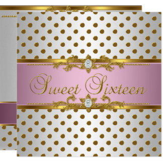 Sweet Sixteen 16 Birthday Pink White Gold Spot Card