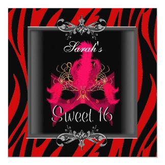 Sweet Sixteen 16 Birthday Red  Zebra Black Mask 13 Cm X 13 Cm Square Invitation Card