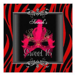 Sweet Sixteen 16 Birthday Red Zebra Black Mask Personalized Invitations