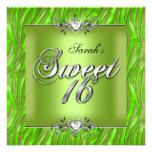 Sweet Sixteen 16 Birthday Zebra Lime Green Invitation