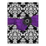 Sweet Sixteen 16 Damask Black White Purple Flower 6.5x8.75 Paper Invitation Card